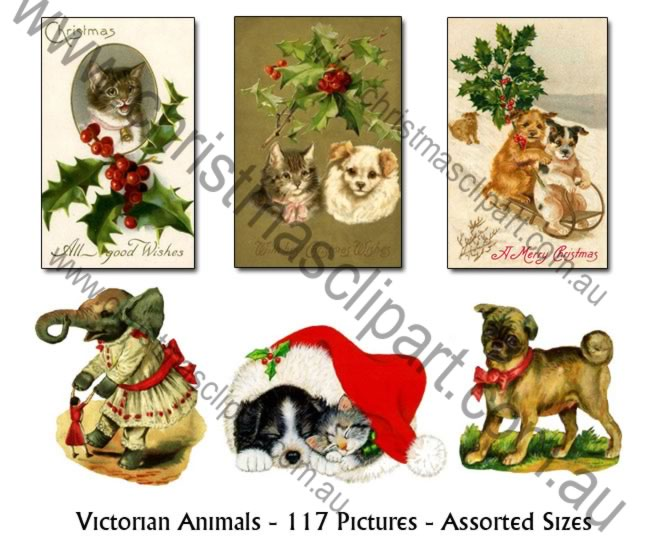 christmas animal clipart,victorian christmas clipart,vintage christmas clipart