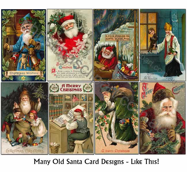 vintage santa cards,old santa images,old santa clipart